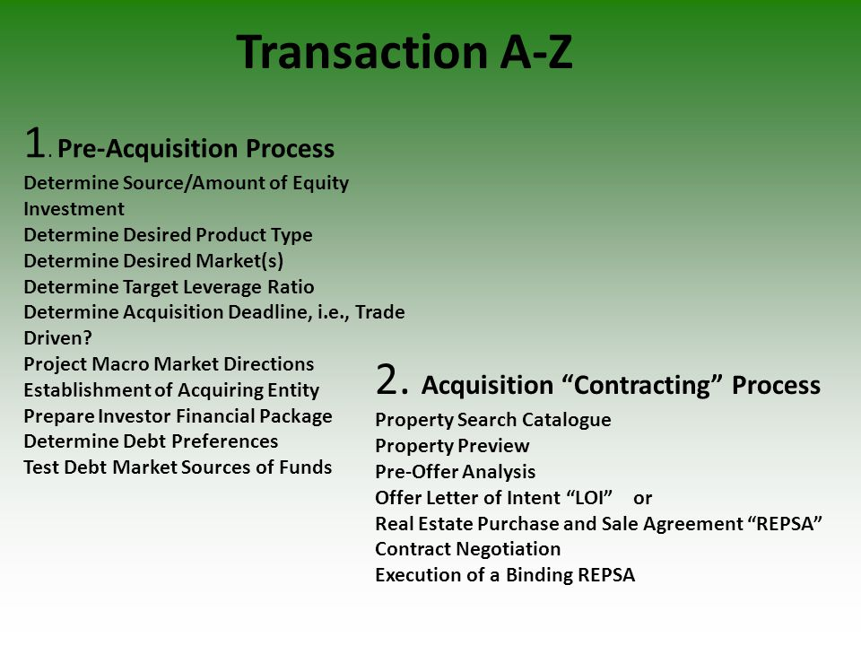 1. Pre-Acquisition Process Determine Source/Amount of Equity Investment Determine Desired Product Type Determine Desired Market(s) Determine Target Le