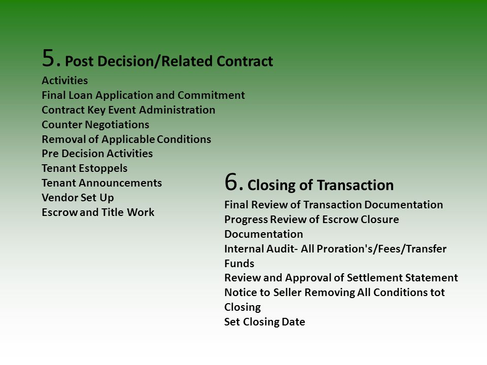 5. Post Decision/Related Contract Activities Final Loan Application and Commitment Contract Key Event Administration Counter Negotiations Removal of A