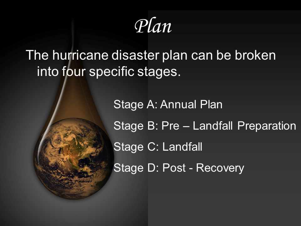Plan The hurricane disaster plan can be broken into four specific stages.