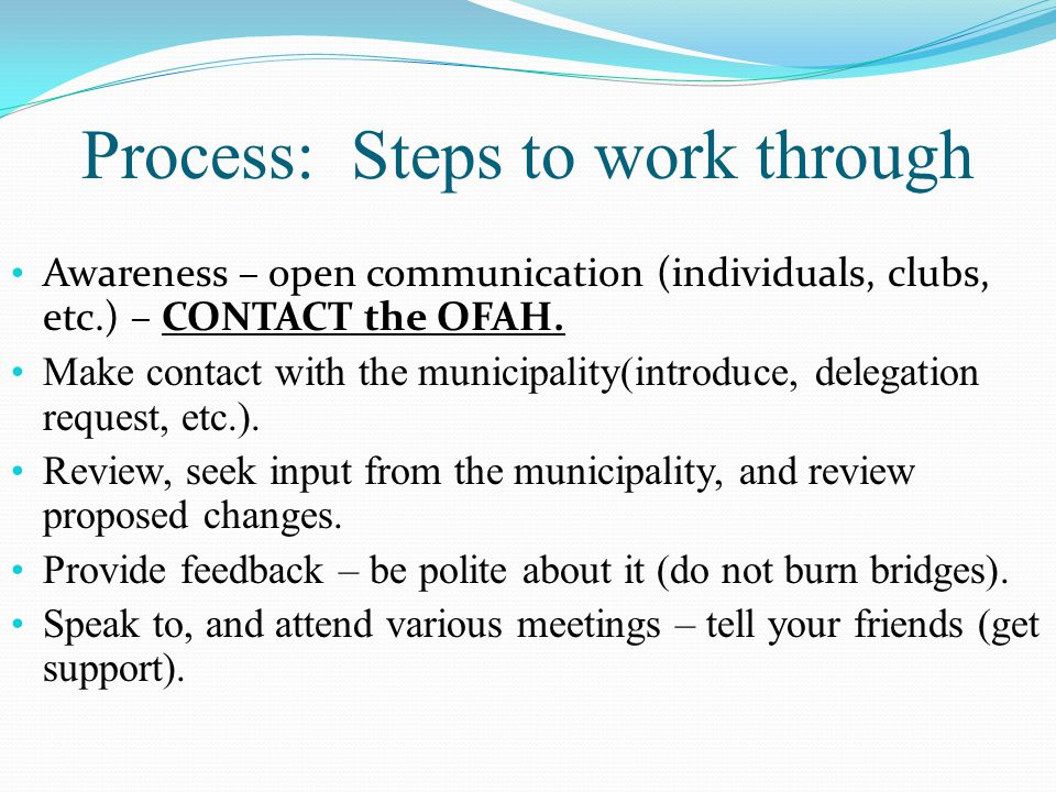 Process: Steps to work through Awareness – open communication (individuals, clubs, etc.) – CONTACT the OFAH.