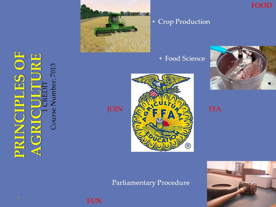 1 CREDIT Course Number: 7013 Crop Production JOINFFA Parliamentary Procedure FUN FOOD Food Science