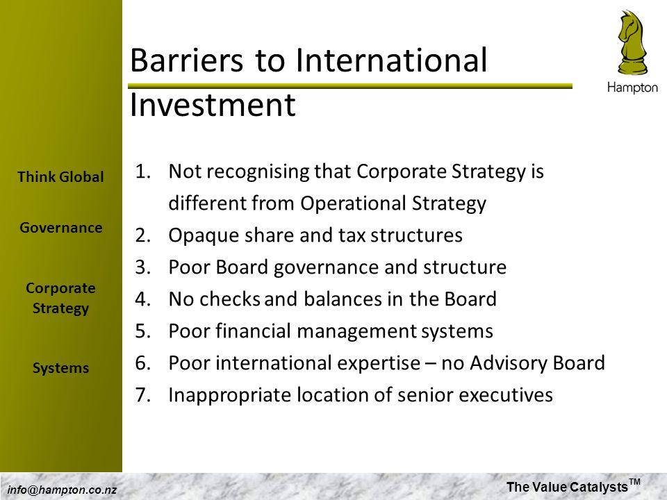 The Value Catalysts TM info@hampton.co.nz Barriers to International Investment 1.Not recognising that Corporate Strategy is different from Operational