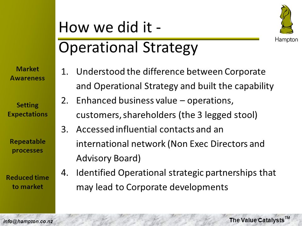 The Value Catalysts TM info@hampton.co.nz How we did it - Operational Strategy 1.Understood the difference between Corporate and Operational Strategy