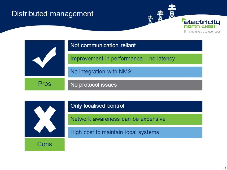 76 Distributed management Not communication reliant Pros Improvement in performance – no latency No integration with NMS No protocol issues Only localised control Network awareness can be expensive High cost to maintain local systems Cons
