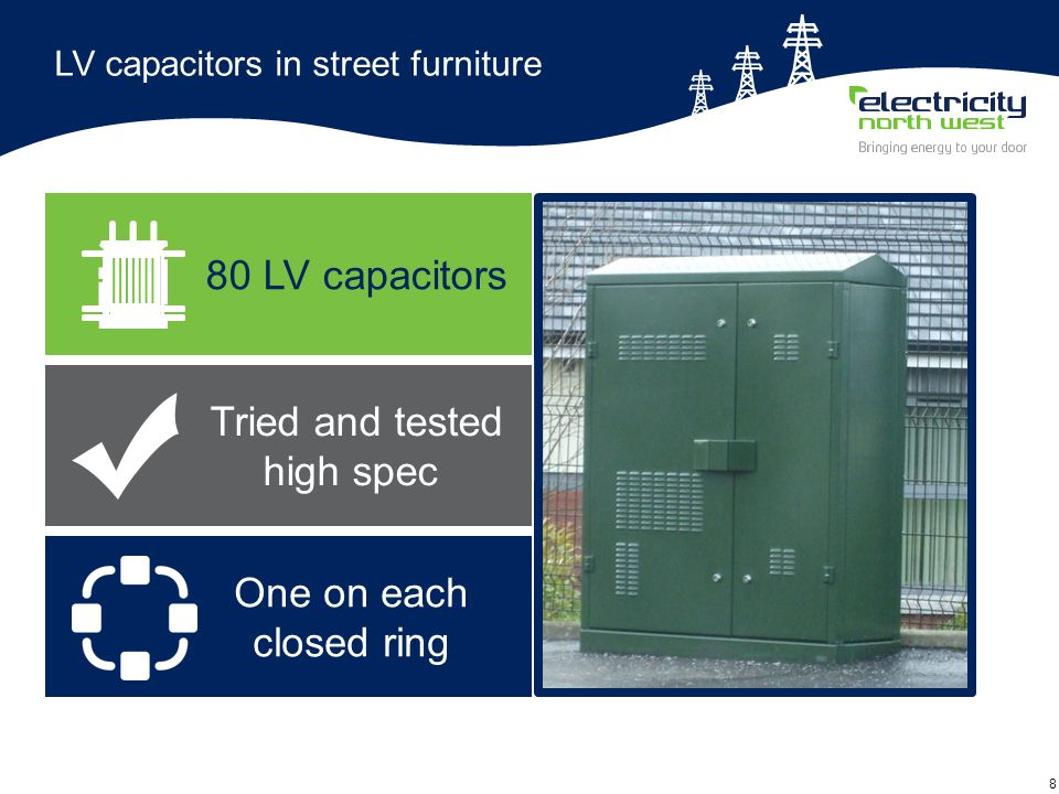 8 LV capacitors in street furniture 80 LV capacitors One on each closed ring Tried and tested high spec