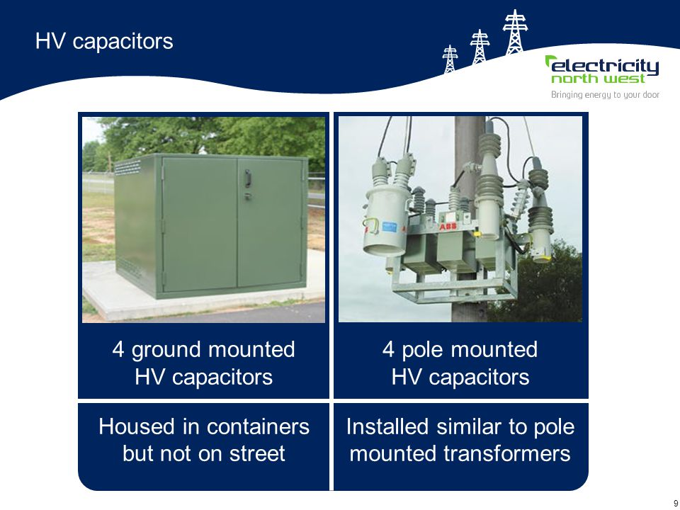 9 HV capacitors 4 pole mounted HV capacitors Installed similar to pole mounted transformers 4 ground mounted HV capacitors Housed in containers but not on street