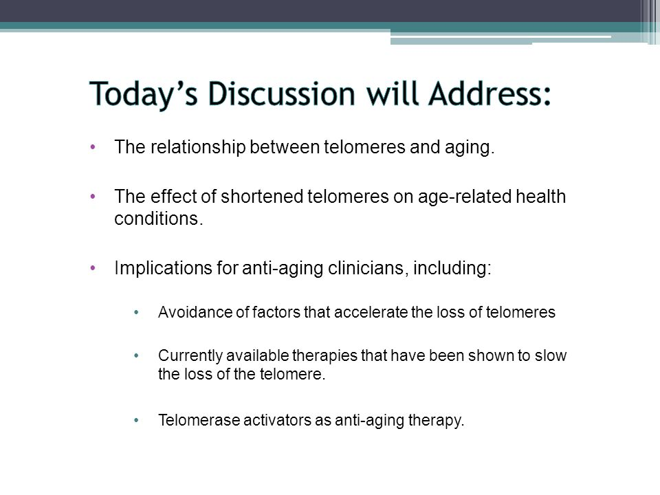 The relationship between telomeres and aging.