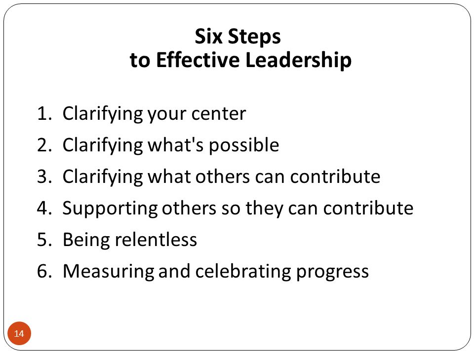 Six Steps to Effective Leadership 1. Clarifying your center 2.