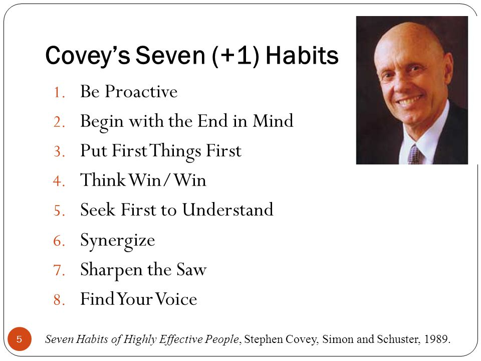 Covey's Seven (+1) Habits 1. Be Proactive 2. Begin with the End in Mind 3.