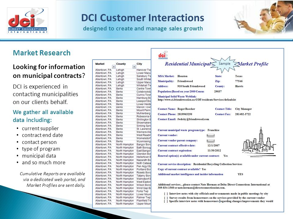 DCI Customer Interactions designed to create and manage sales growth Call Center Support Services DCI is a US Midwest based call center & telemarketing company dedicated to effective and efficient sales, marketing, and call center activities.