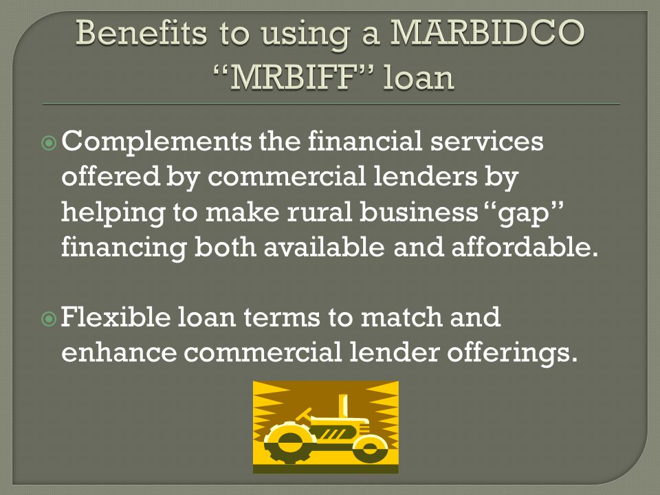  Complements the financial services offered by commercial lenders by helping to make rural business gap financing both available and affordable.
