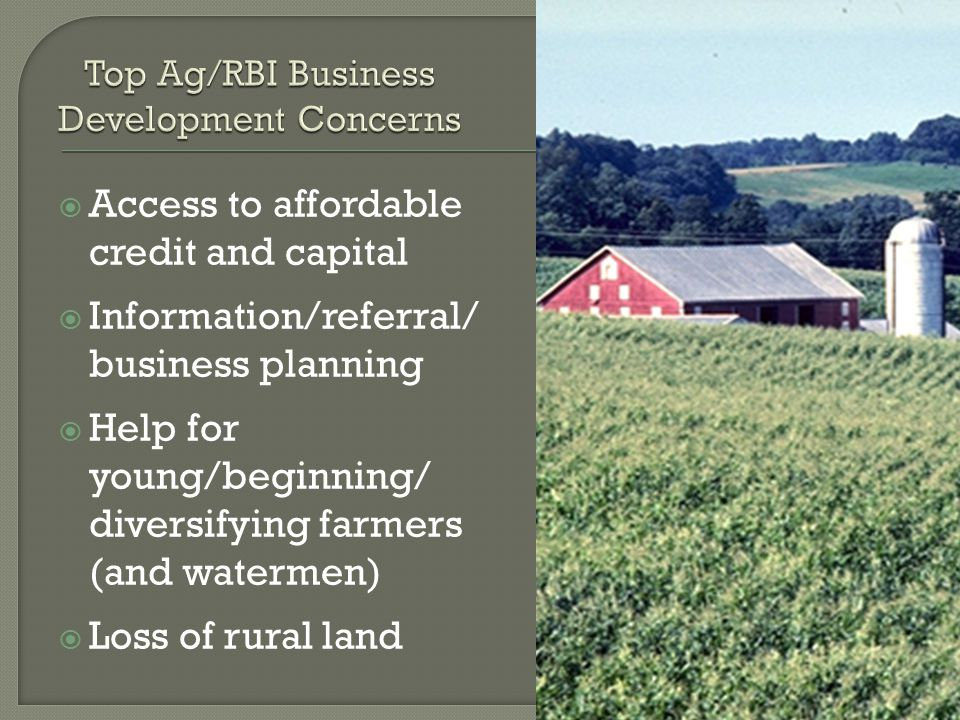  Access to affordable credit and capital  Information/referral/ business planning  Help for young/beginning/ diversifying farmers (and watermen)  Loss of rural land