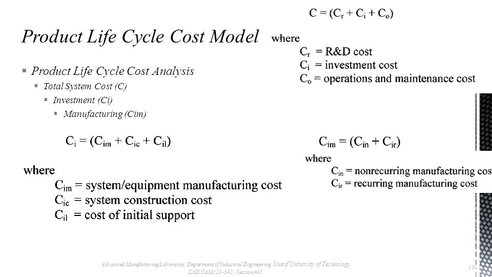  Product Life Cycle Cost Analysis  Total System Cost (C)  Investment (Ci)  Manufacturing (Cim) Advanced Manufacturing Laboratory, Department of In