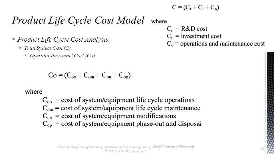  Product Life Cycle Cost Analysis  Total System Cost (C)  Operator Personnel Cost (Co) Advanced Manufacturing Laboratory, Department of Industrial Engineering, Sharif University of Technology CAD/CAM (21-342), Session #15 21