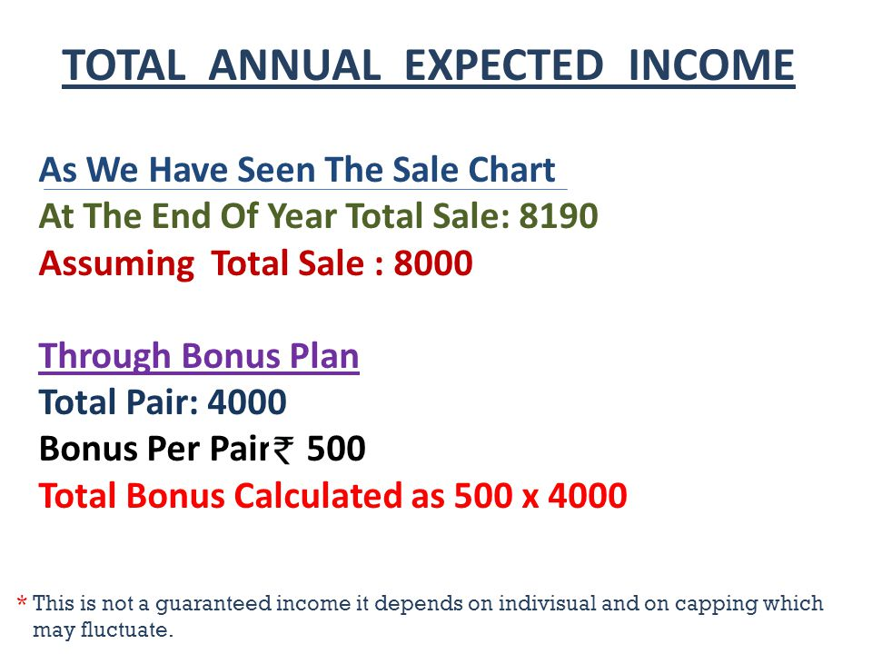 TOTAL ANNUAL EXPECTED INCOME As We Have Seen The Sale Chart At The End Of Year Total Sale: 8190 Assuming Total Sale : 8000 Through Bonus Plan Total Pair: 4000 Bonus Per Pair 500 Total Bonus Calculated as 500 x 4000 * This is not a guaranteed income it depends on indivisual and on capping which may fluctuate.