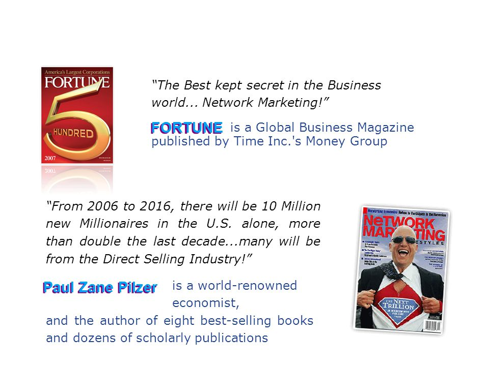 """The Best kept secret in the Business world... Network Marketing!"" is a Global Business Magazine ""From 2006 to 2016, there will be 10 Million new Mill"
