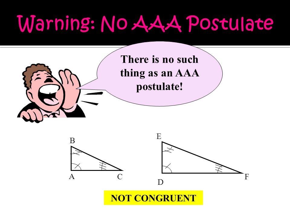 A C B D E F There is no such thing as an AAA postulate! NOT CONGRUENT