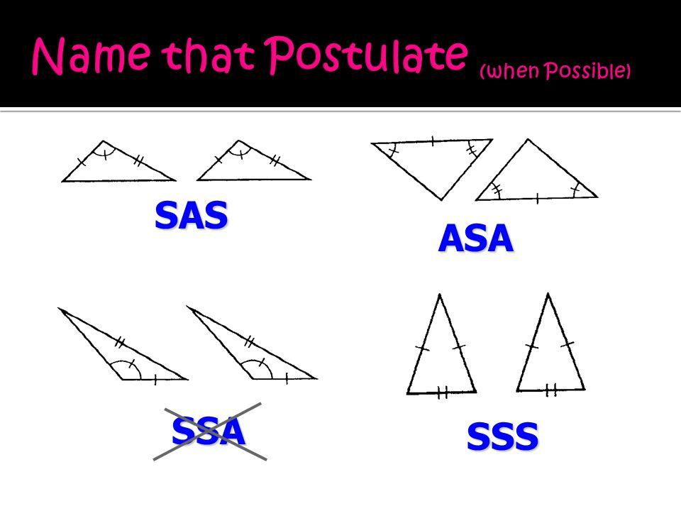 SAS ASA SSS SSA