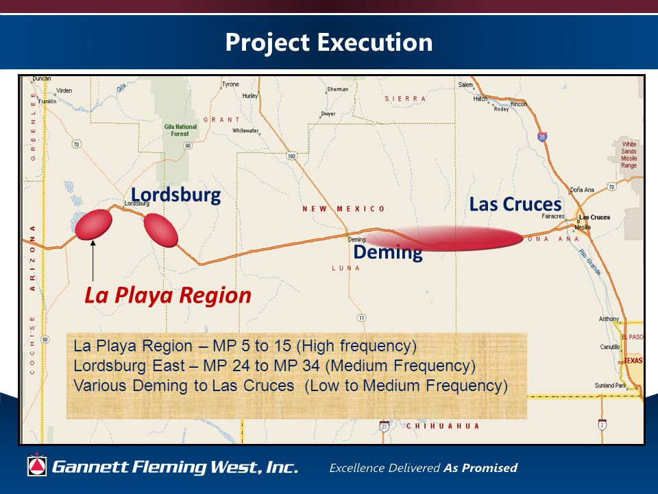Project Execution La Playa Region Lordsburg Deming Las Cruces La Playa Region – MP 5 to 15 (High frequency) Lordsburg East – MP 24 to MP 34 (Medium Frequency) Various Deming to Las Cruces (Low to Medium Frequency)