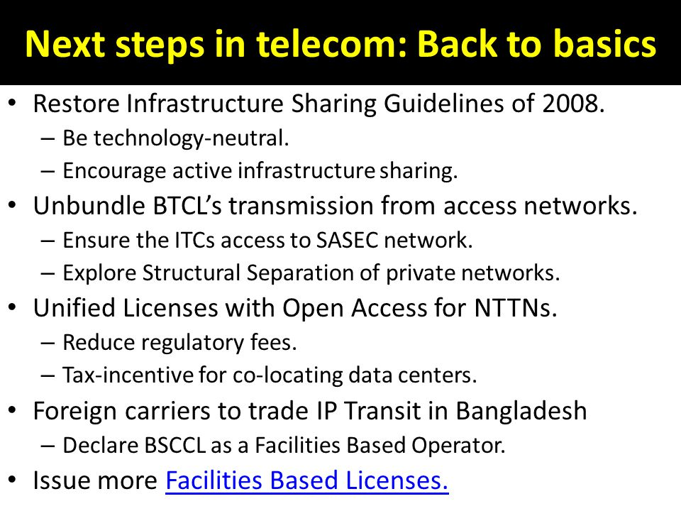 Next steps in telecom: Back to basics Restore Infrastructure Sharing Guidelines of 2008.