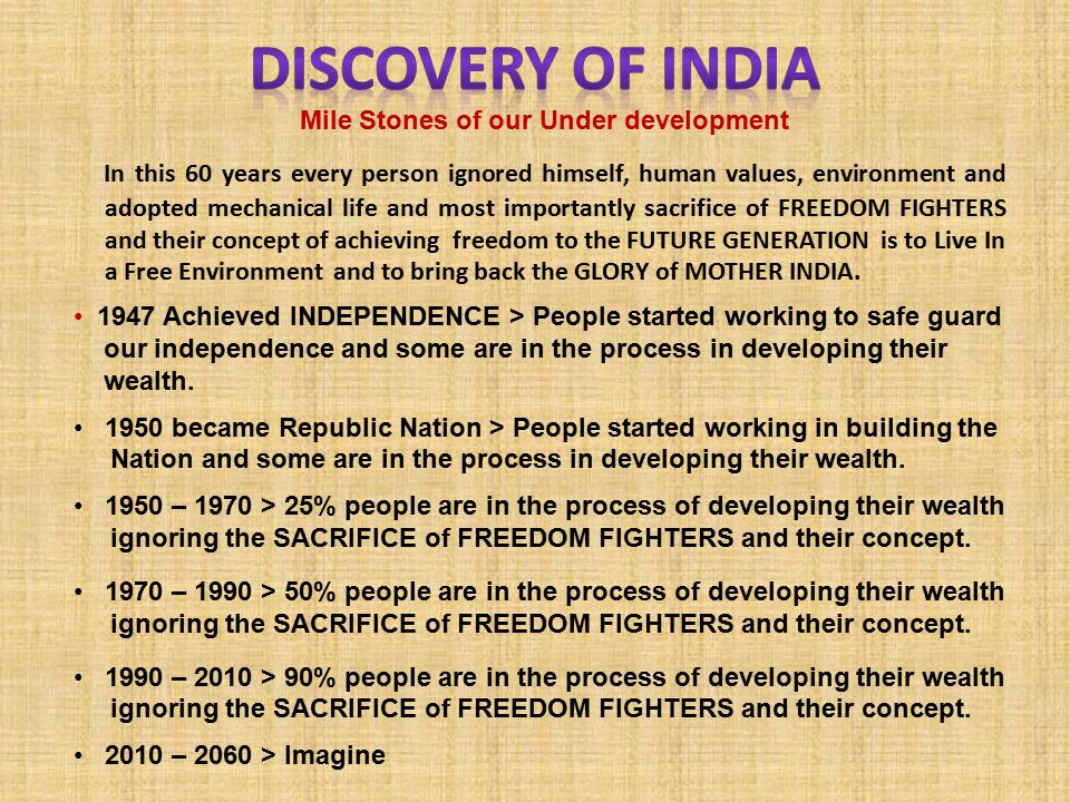 In this 60 years every person ignored himself, human values, environment and adopted mechanical life and most importantly sacrifice of FREEDOM FIGHTERS and their concept of achieving freedom to the FUTURE GENERATION is to Live In a Free Environment and to bring back the GLORY of MOTHER INDIA.