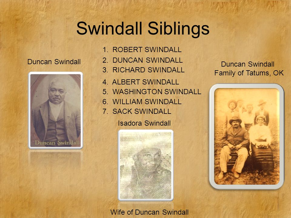 Swindall Siblings 2. DUNCAN SWINDALL 3. RICHARD SWINDALL 4.