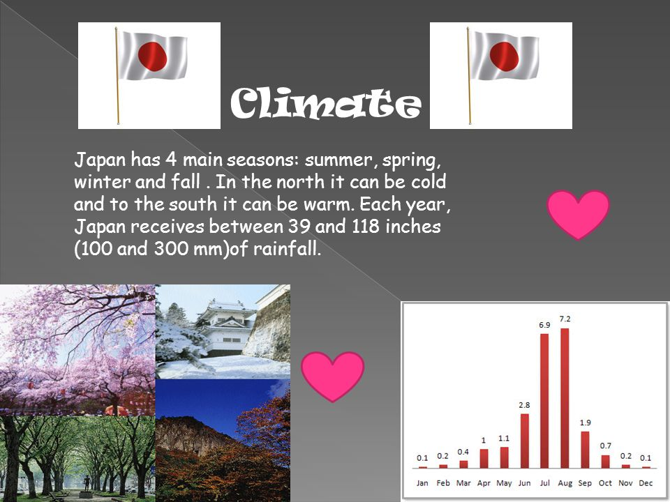 Japan has 4 main seasons: summer, spring, winter and fall. In the north it can be cold and to the south it can be warm. Each year, Japan receives betw