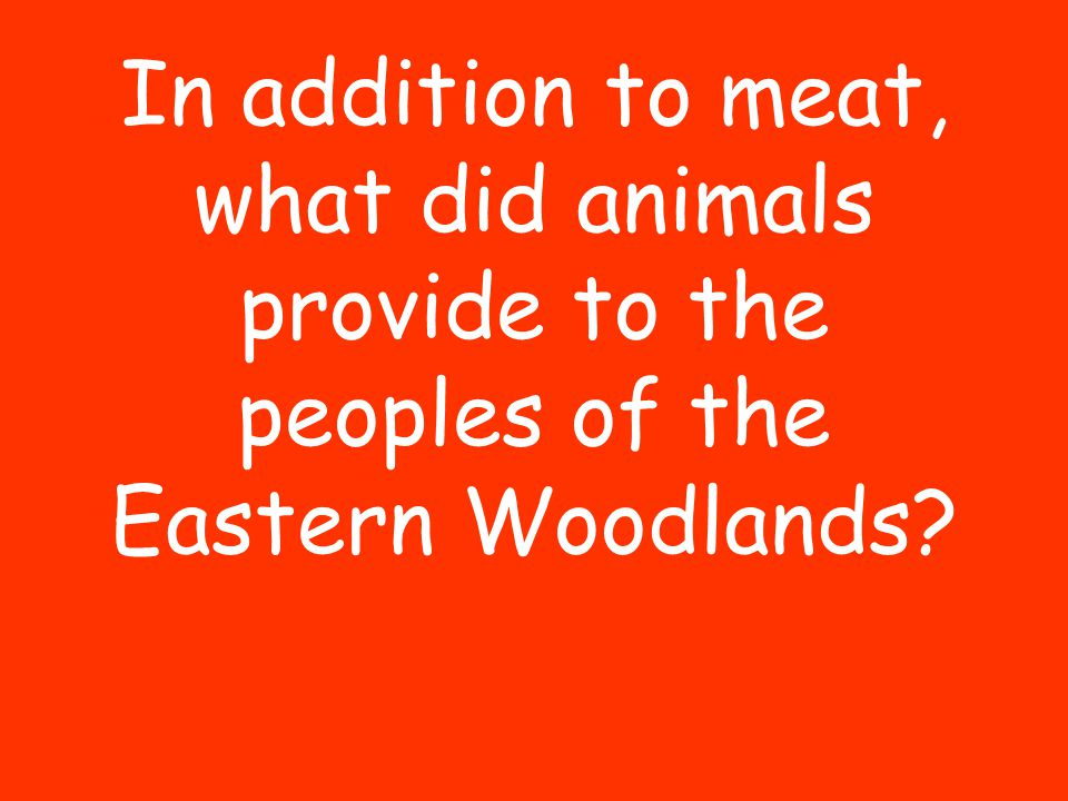 In addition to meat, what did animals provide to the peoples of the Eastern Woodlands?