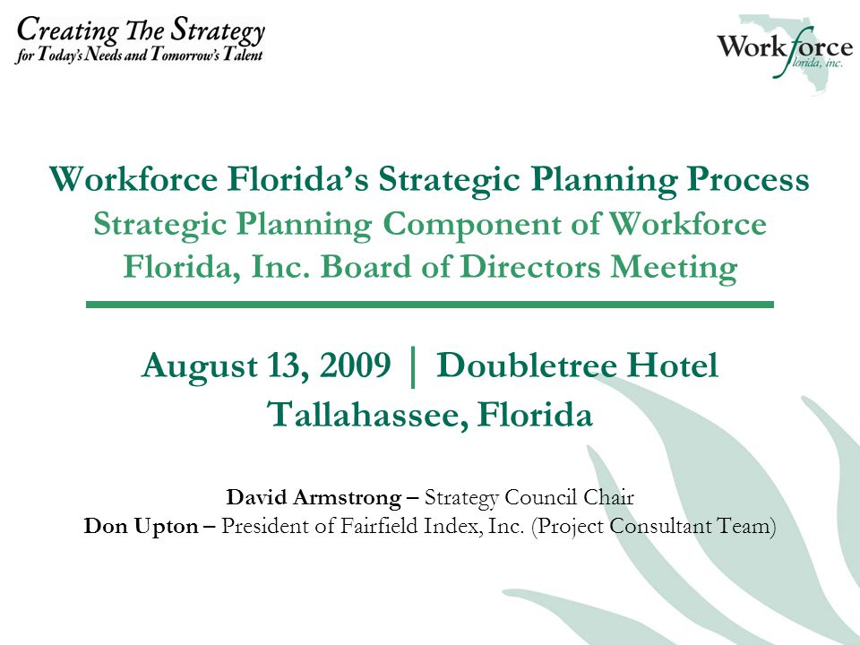  Help Workforce Florida Board Launch Planning Process with Clarity and Decisiveness  Support Commissioning of Strategy Council to do this Work  Recommend Statement of Intent  Recommend Guiding Principles  Support Preparation of Web Map/Communications  Draft Milestone Timeline  Launched in Plain View by the End of the Week Pre-launch Work and Discussions of August 11 and 12