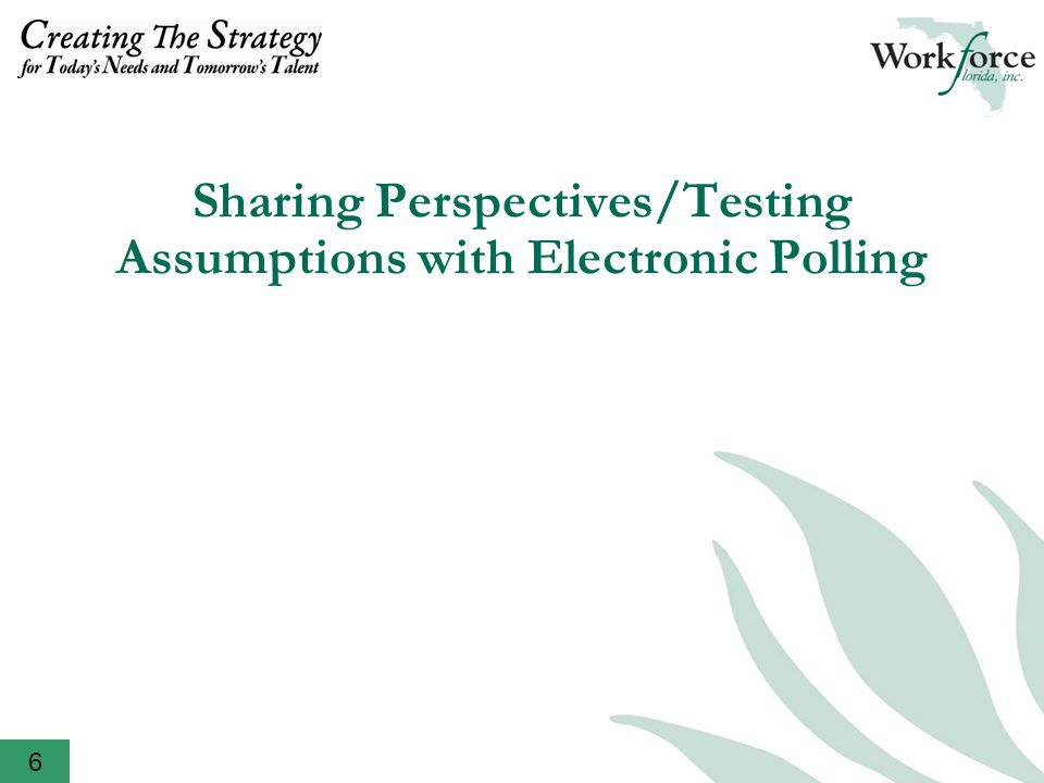 Sharing Perspectives/Testing Assumptions with Electronic Polling 6
