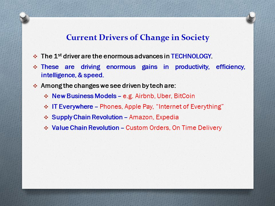 Current Drivers of Change in Society  The 1 st driver are the enormous advances in TECHNOLOGY.