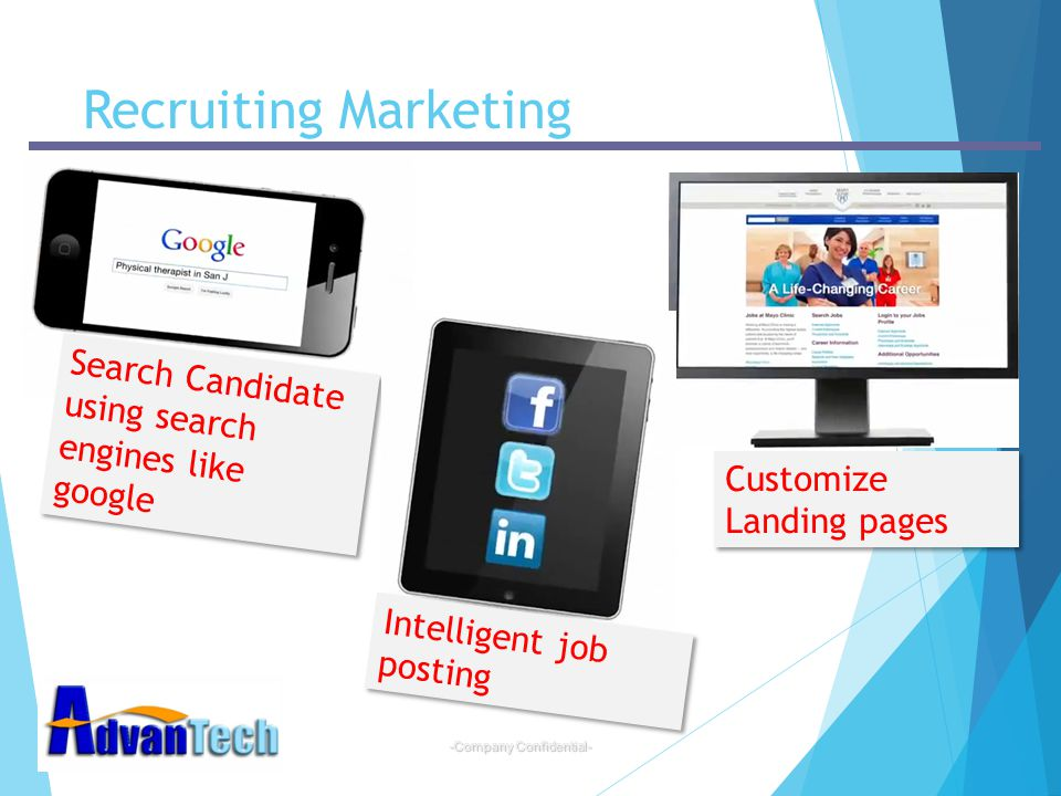 -Company Confidential- Recruiting Marketing Search Candidate using search engines like google Customize Landing pages Intelligent job posting