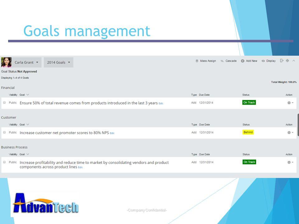 -Company Confidential- Goals management