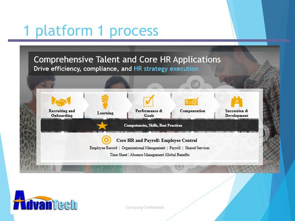 -Company Confidential- 1 platform 1 process