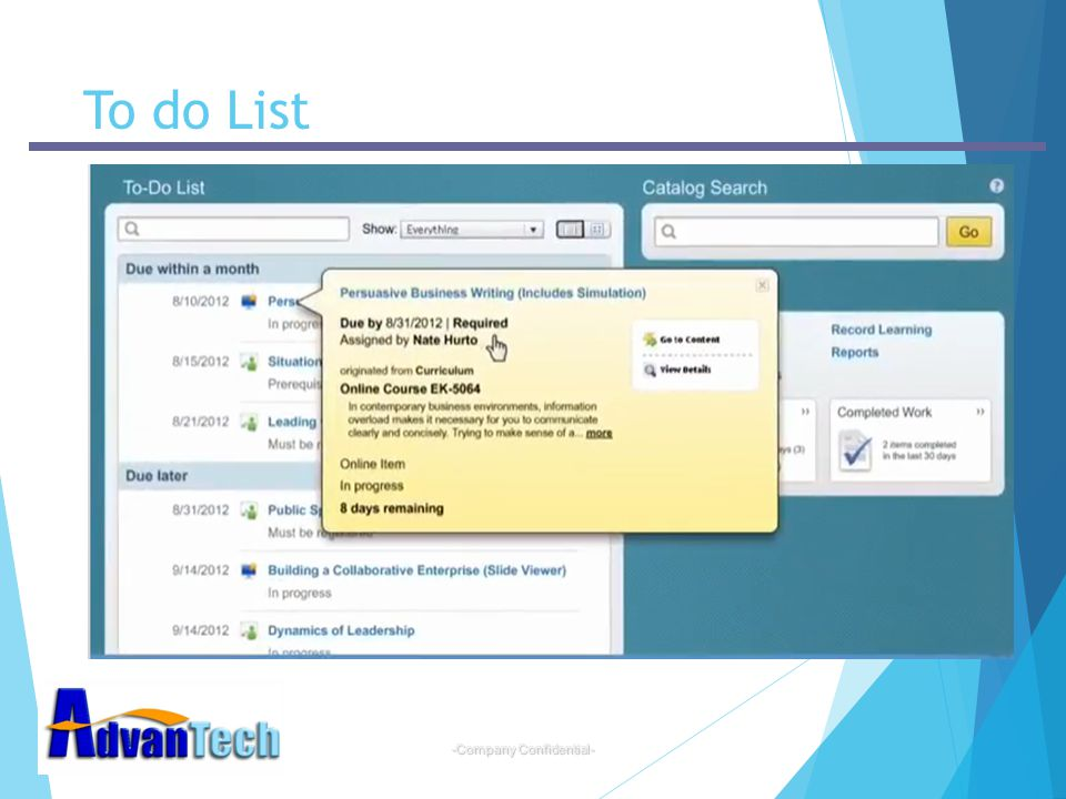 -Company Confidential- To do List