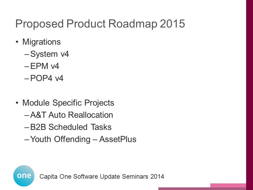 Capita One National User Group 2014 Capita One Software Update Seminars 2014 Proposed Product Roadmap 2015 Migrations –System v4 –EPM v4 –POP4 v4 Modu