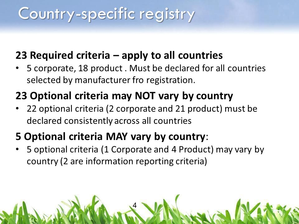 23 Required criteria – apply to all countries 5 corporate, 18 product. Must be declared for all countries selected by manufacturer fro registration. 2