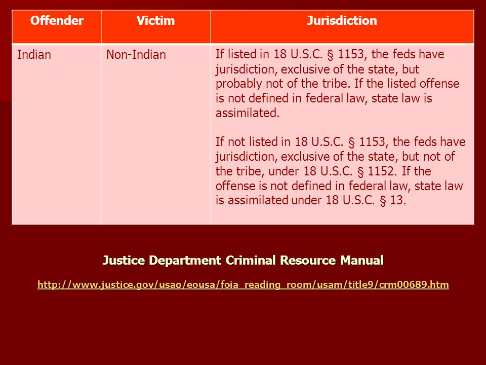 OffenderVictimJurisdiction IndianNon-IndianIf listed in 18 U.S.C.