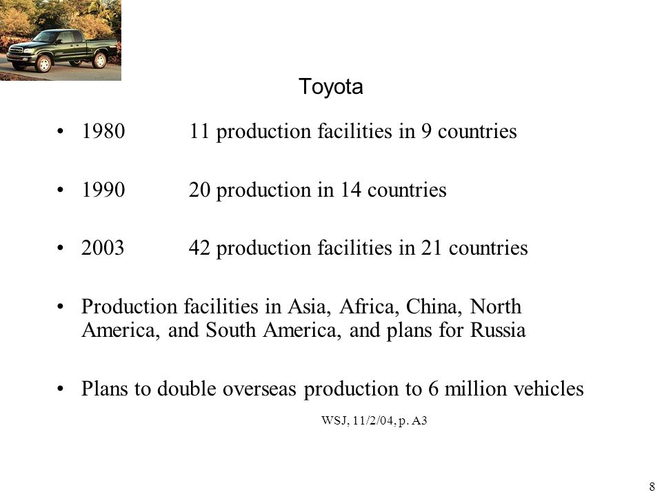 9 In June 2006, outside Japan Toyota has a total of 52 overseas manufacturing companies in 27 countries / regions.