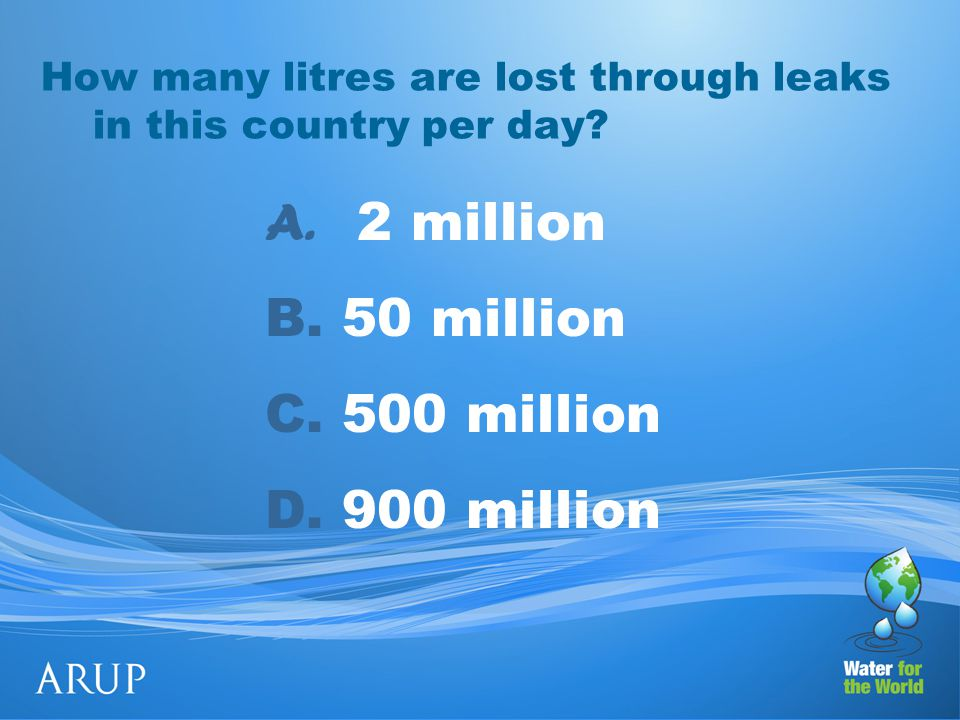 How many litres are lost through leaks in this country per day.