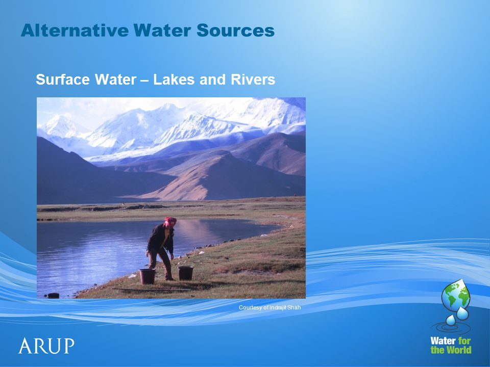 Alternative Water Sources Surface Water – Lakes and Rivers Courtesy of Indrajit Shah