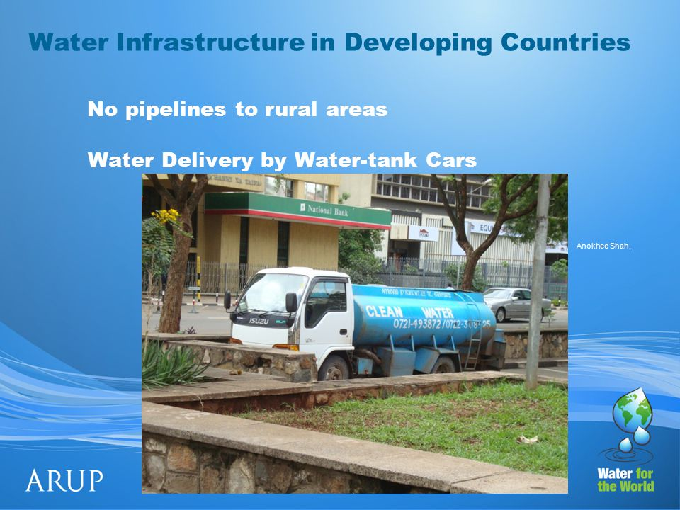 Water Infrastructure in Developing Countries Water Delivery by Water-tank Cars No pipelines to rural areas Anokhee Shah,