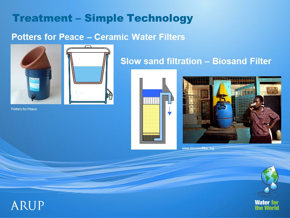 Treatment – Simple Technology Potters for Peace – Ceramic Water Filters Slow sand filtration – Biosand Filter www.biosandfilter.org Potters for Peace