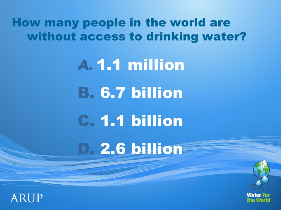 How many people in the world are without access to drinking water.