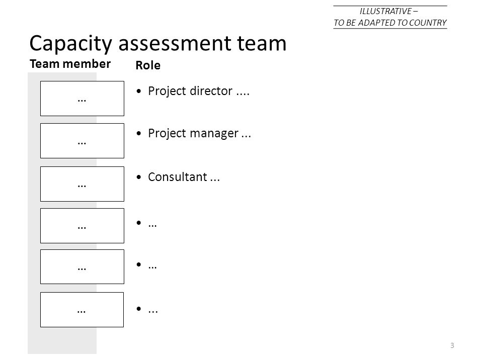 3... Role Project director.... Project manager... Consultant... … …... Team member... Capacity assessment team ILLUSTRATIVE – TO BE ADAPTED TO COUNTRY