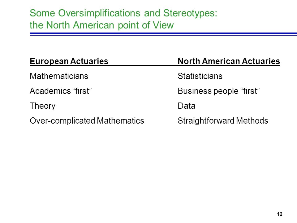 12 Some Oversimplifications and Stereotypes: the North American point of View European ActuariesNorth American Actuaries Mathematicians Statisticians Academics first Business people first TheoryData Over-complicated MathematicsStraightforward Methods