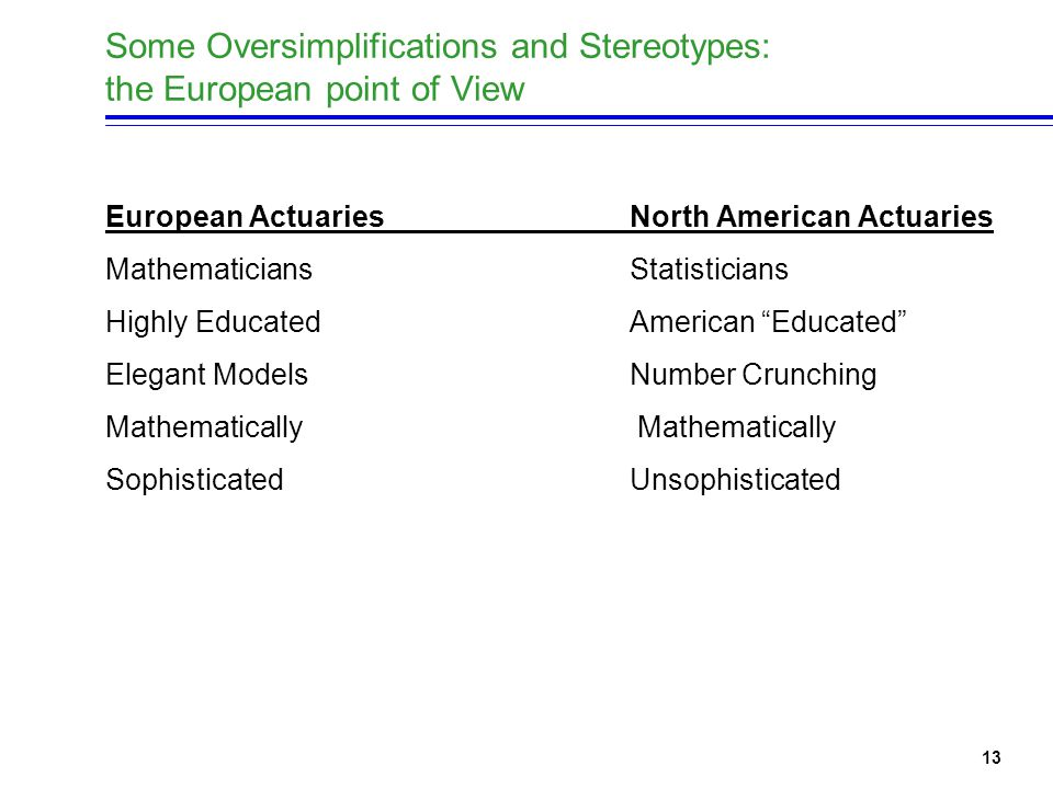13 Some Oversimplifications and Stereotypes: the European point of View European ActuariesNorth American Actuaries Mathematicians Statisticians Highly Educated American Educated Elegant ModelsNumber Crunching Mathematically Sophisticated Unsophisticated