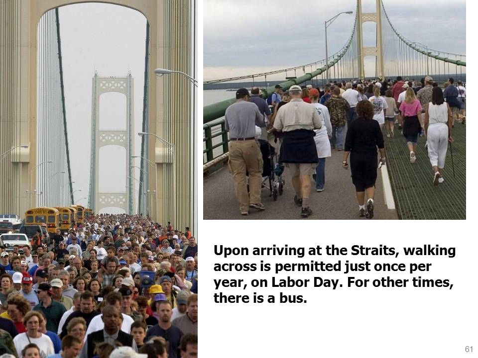 61 Upon arriving at the Straits, walking across is permitted just once per year, on Labor Day.