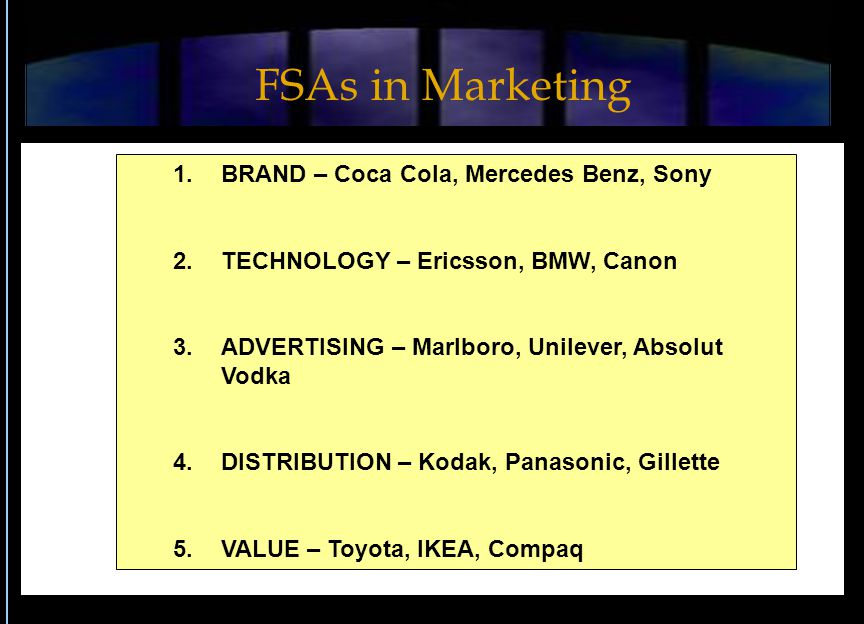 1.BRAND – Coca Cola, Mercedes Benz, Sony 2.TECHNOLOGY – Ericsson, BMW, Canon 3.ADVERTISING – Marlboro, Unilever, Absolut Vodka 4.DISTRIBUTION – Kodak,