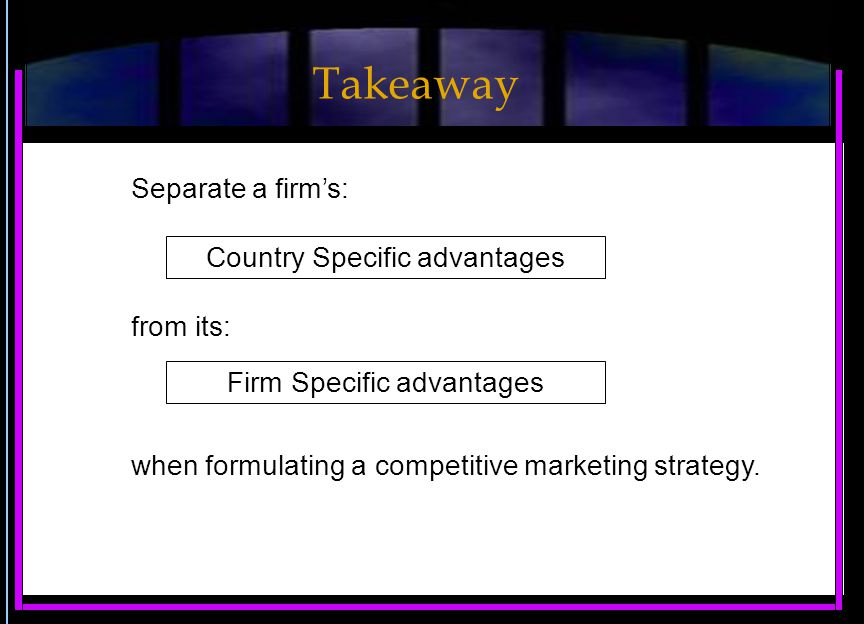 Separate a firm's: Country Specific advantages from its: when formulating a competitive marketing strategy.